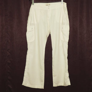 Old Navy off-white linen blend cargo pants